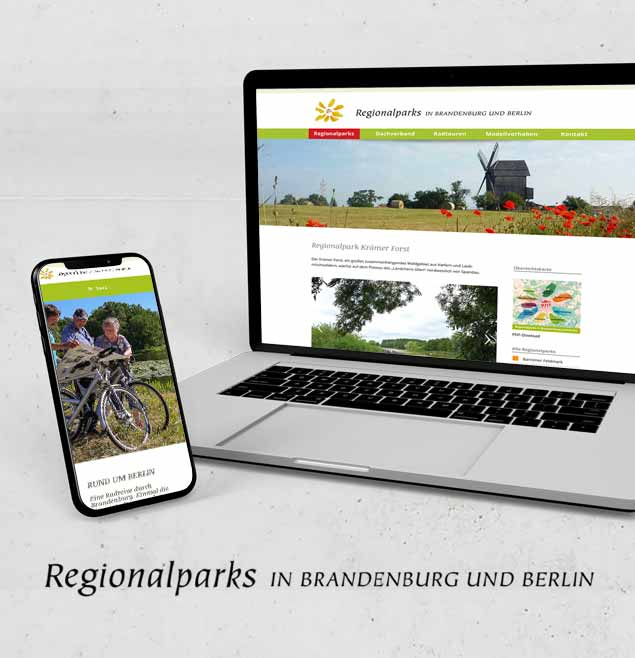 Regionalparks Brandenburg Teaser Schweiger Design CMS WordPress Webseite